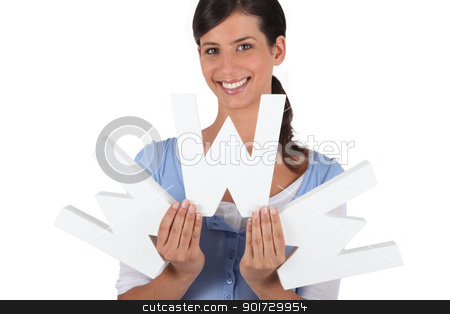 Woman holding the letters WWW stock photo, Woman holding the letters WWW by photography33