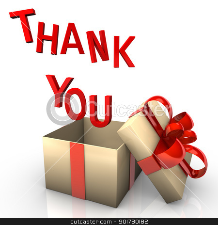 Thank You Gift stock photo, Opened gift box with the red text