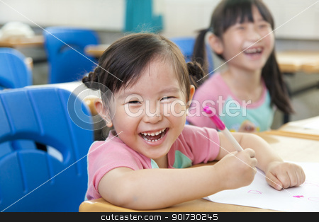 happy little girls in the classroom stock photo, happy little girls in the classroom by tomwang