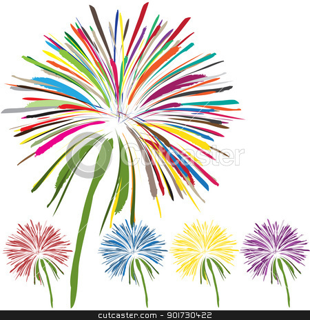 dandelion stock vector clipart, nice set of beautiful flowers on white background by metrue