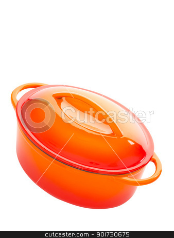 cast iron pot stock photo, close up of a cast iron pot isolated on white by zkruger
