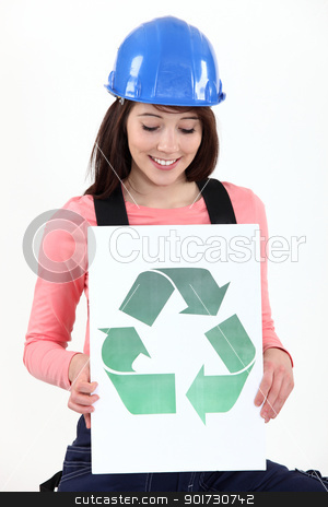 craftswoman holding a recycling label stock photo, craftswoman holding a recycling label by photography33