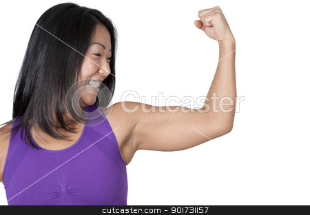 Asian Woman Flexing Her Muscles stock photo, A beautiful young Asian woman flexing her muscles during a workout by Robert Byron