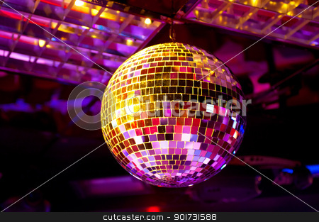 Disco ball stock photo, Disco ball light reflection background by olinchuk