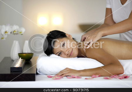 Woman receiving relaxing massage stock photo, Woman receiving relaxing massage by photography33