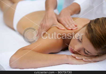 Woman receiving massage stock photo, Woman receiving massage by photography33