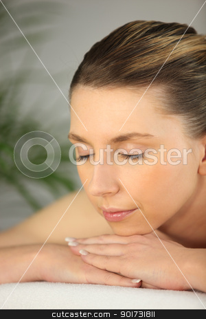woman relaxing on the massage table stock photo, woman relaxing on the massage table by photography33
