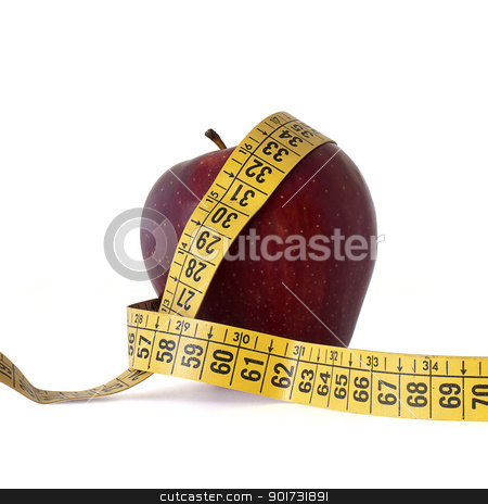 red apple stock photo, red apple and measure tape by matteo bragaglio