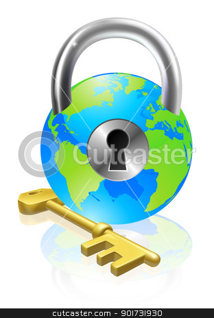 Lock and Key Globe stock vector clipart, World globe like a locked padlock with key. Concept could be for internet security, data protection or general security  by Christos Georghiou