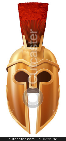 Corinthian helmet stock vector clipart, Illustration of a bronze Corinthian or Spartan helmet like those used in ancient Greece or Rome by Christos Georghiou