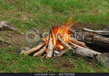 Camp fire stock photo, Red yellow camp fire at green glade by Aleksandar Varbenov