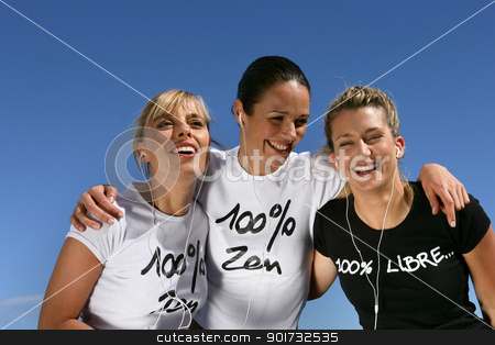 Three female friends outdoors stock photo, Three female friends outdoors by photography33