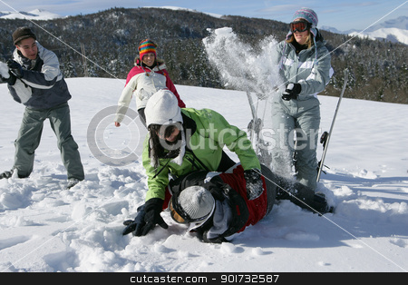 Friends having fun in snow stock photo, Friends having fun in snow by photography33