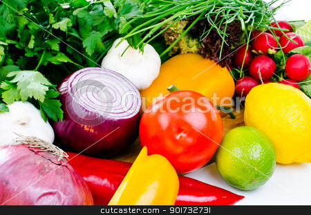 Set of vegetables on board close up stock photo, Set of vegetables on table close up by Nanisimova