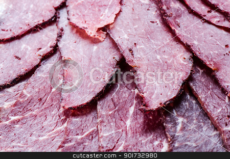 Smoked cured beef  stock photo, Smoked cured beef close up by Nanisimova