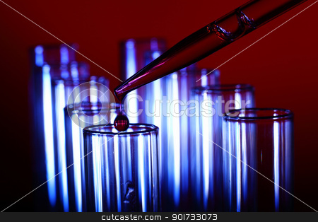 Glass chemistry tubes stock photo, Glass chemistry tubes on a colour background by Sergey Nivens