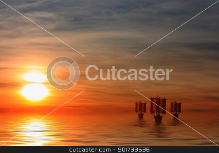 Viking Ships stock photo, This image shows a sunset with sailing viking ships by kirschner
