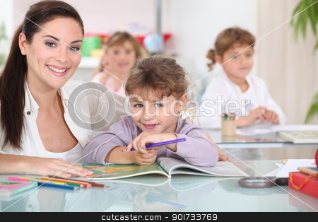 Coloring in school stock photo, Coloring in school by photography33