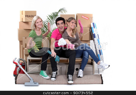 Young people moving home stock photo, Young people moving home by photography33