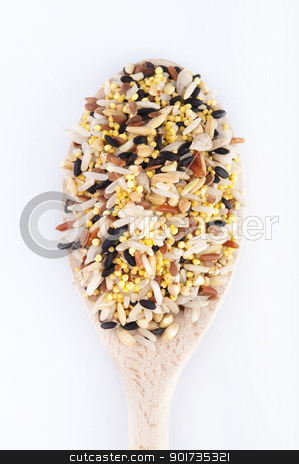 Multi Raw grains stock photo, Multi Raw grains on wodden spoon, mixed of 12 different grains by szefei