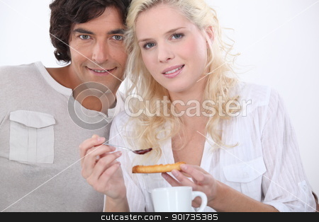 couple having breakfast stock photo, couple having breakfast by photography33