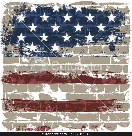 The American flag against a brick wall. stock vector clipart, The American flag symbol against a brick wall. by pashabo