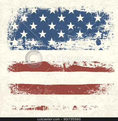 American flag vintage textured background. Vector, EPS10 stock vector clipart, American flag vintage textured background. Vector, EPS10  by pashabo