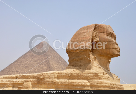 Sphinx and Pyramid Giza stock photo, Landmark of the famous ancient Sphinx in front of the pyramid Giza in Cairo,Egypt by John Young