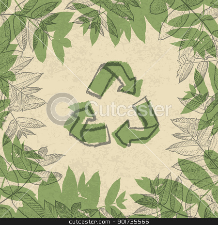 Recycle symbol, printed on reuse paper. In frame of leaves. vect stock vector clipart, Recycle symbol, printed on reuse paper. In frame of leaves. vector illustration, EPS10. by pashabo