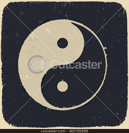 Grunge yin yang symbol background. Vector illustration, EPS10. stock vector clipart, Grunge yin yang symbol background. Vector illustration, EPS10. by pashabo
