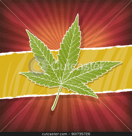 Background with cannabis leaf and rasta colors stock vector clipart, Background with cannabis leaf and rasta colors by pashabo