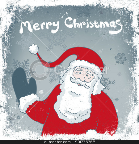 Christmas vintage card with Santa. Vector, EPS8. stock vector clipart, Christmas vintage card with Santa. Vector, EPS8. by pashabo