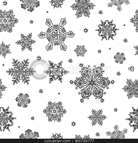 Seamless Abstract Snowflake Background. Vector, EPS8 stock vector clipart, Seamless Abstract Snowflake Background. Vector, EPS8 by pashabo