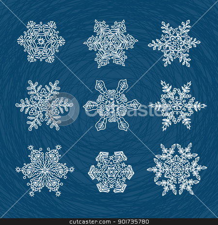 Macro-structure of real snowflakes, transformed and drawn as orn stock vector clipart, Macro-structure of real snowflakes, transformed and drawn as ornamental usable shapes. Set of nine forms. by pashabo