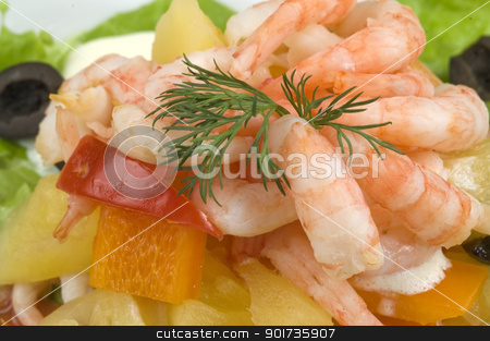 Prawn salad. stock photo, Prawn salad. Simple and healthy salad of shrimp, mixed greens, red  pepper and olive. by Yury Ponomarev