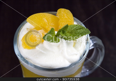 Dessert. stock photo, Whipped cream with fruit. by Yury Ponomarev