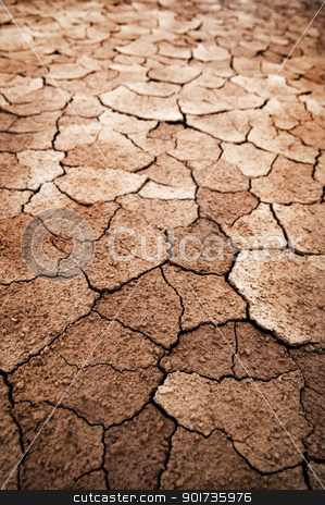Dry cracked earth stock photo, Detail of dry cracked earth by szefei