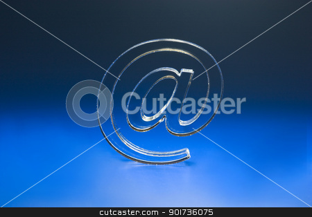 Symbol  e-mail. stock photo, The Sign Email on turn blue the background. by Yury Ponomarev