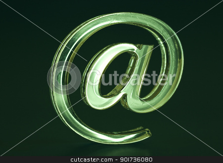 Symbol  e-mail. stock photo, The Sign Email green colour on dark background. by Yury Ponomarev