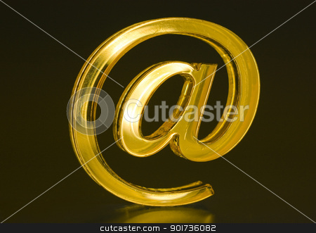 Symbol  e-mail. stock photo, The Sign Email golden colour on dark background. by Yury Ponomarev