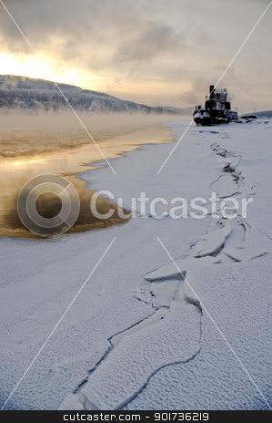 Northern, Siberian river in the winter. stock photo, The river. A winter landscape. Ice, water. A river coast. by Yury Ponomarev