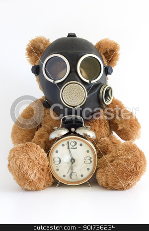 Gas mask. stock photo, The Nursery toy, gas mask, old watch on white background. by Yury Ponomarev