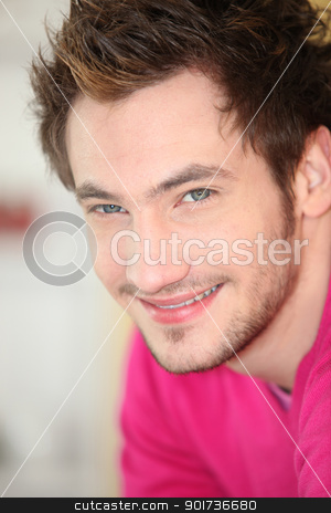 Head-shot of casual man at home stock photo, Head-shot of casual man at home by photography33