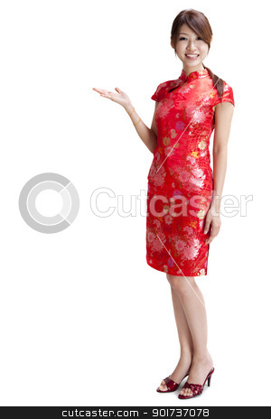 Oriental women stock photo, Asian Chinese woman in Traditional Chinese Cheongsam gesturing by szefei