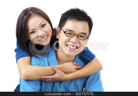 Loving Couple stock photo, Beautiful Loving Couple on white background by szefei