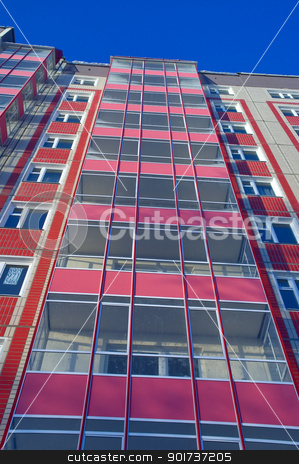 Modern Architecture stock photo, Modern urban building. Glass balconies. by Yury Ponomarev