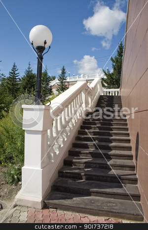 Ladder with a lantern. stock photo, Ladder with a lantern and white balustrade. by Yury Ponomarev