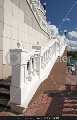 Ladder. stock photo, Ladder with a lantern and white balustrade. by Yury Ponomarev