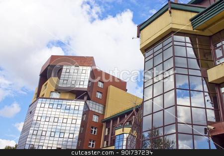 Modern Architecture. stock photo, Modern building from a brick. Glass windows. by Yury Ponomarev