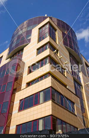 Modern Architecture. stock photo, Modern building from a brick. Glass windows and balconies. by Yury Ponomarev